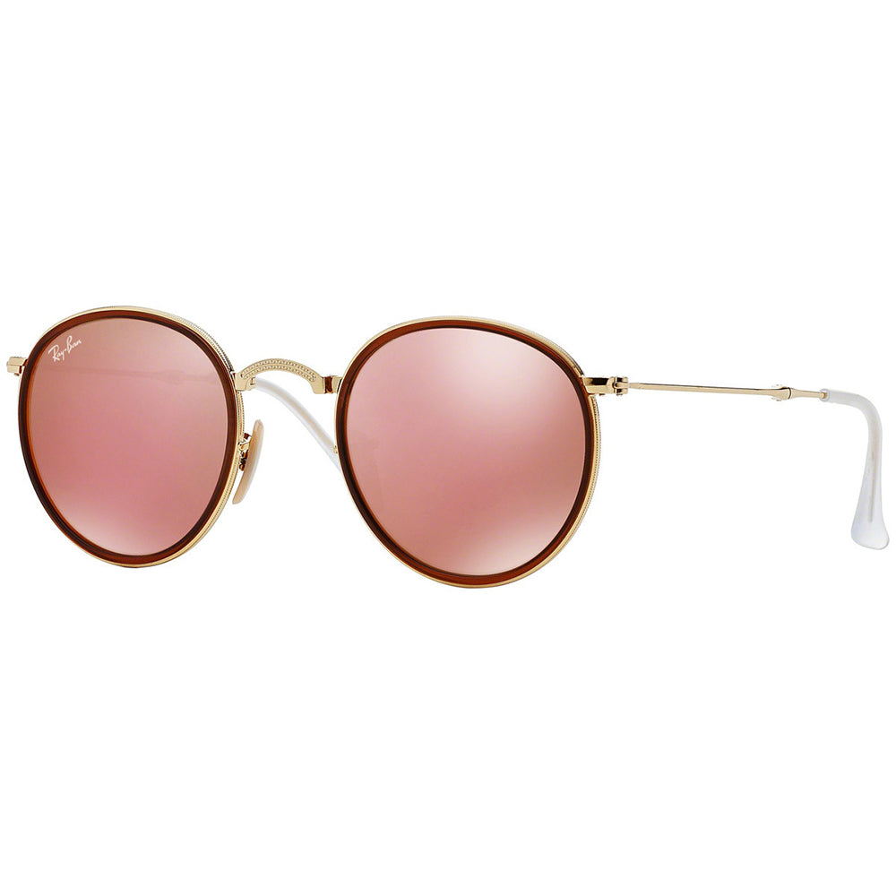 New Authentic Ray Ban Round Foldable Unisex Sunglasses w/Brown Pink Mirrored Lens RB3517 001/Z2