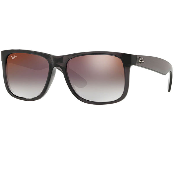 Ray-Ban Justin Sunglasses Transparent Grey w/Grey/Red Gradient/Mirrored Lens Men RB4165 606/U0