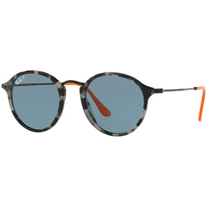 Ray Ban Men's Round Fleck Sunglasses Blue Lens | Full View
