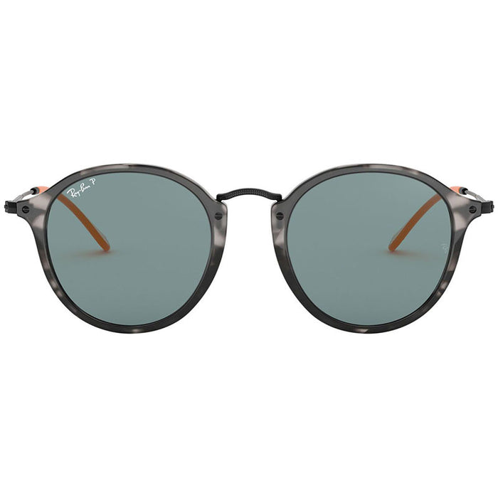 Ray-Ban Men's Round Fleck Sunglasses Havana Acetate Frame w/Blue Polarized Lens