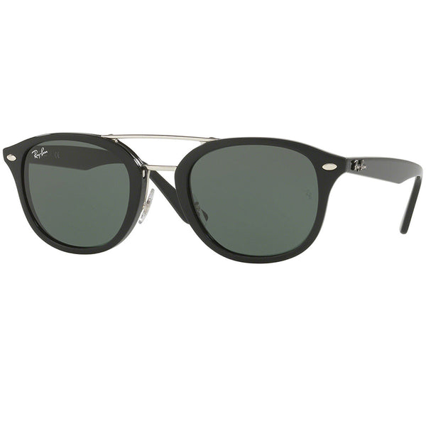 Ray Ban Square Unisex Sunglasses Black - Green Classic Lens