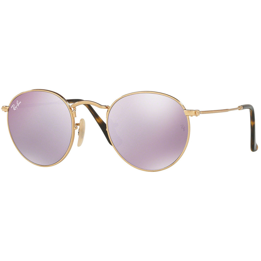 Ray-Ban Round Flat Lenses Unisex Sunglasses W/Wisteria Flash Mirrored Lens RB3447N 001/8O