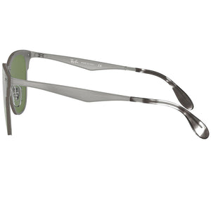 Ray-Ban Blaze Clubmaster Sunglasses Brushed Silver w/Dark Green Mirrored Lens Unisex RB3576N 042/30