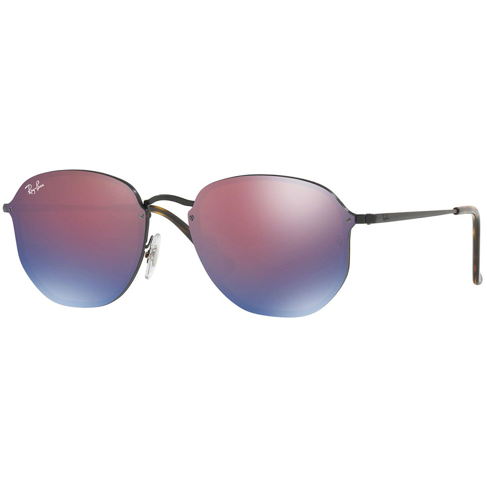 Ray-Ban Blaze Hexagonal Unisex Sunglasses W/Dark Violet/Blue Mirrored Lens RB3579N 153/7V 58