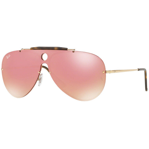 Ray-Ban Blaze Shooter Unisex Sunglasses W/Pink Mirrored Lens RB3581N 001/E4 32