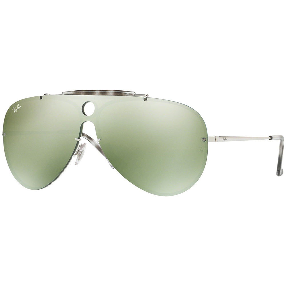 Ray-Ban Blaze Shooter Unisex Sunglasses W/Green Mirrored Lens RB3581N 003/30 32