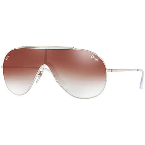 Ray-Ban Wings Men's Sunglasses Silver Frame W/Red Gradient Lens RB3597 003/V0