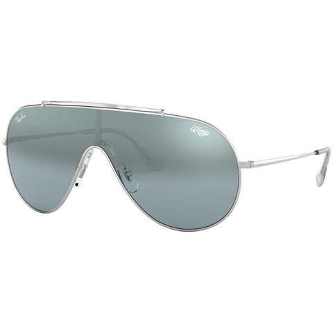 Ray-Ban Wings Men's Sunglasses Silver Frame W/Blue Silver Mirrored Lens RB3597 003/Y0
