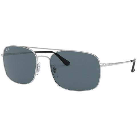 Ray-Ban Unisex Sunglasses Silver Frame W/Blue Lens RB3611  003/R5