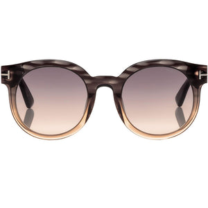 Tom Ford Janina Round Unisex Sunglasses Grey Lens - Front View