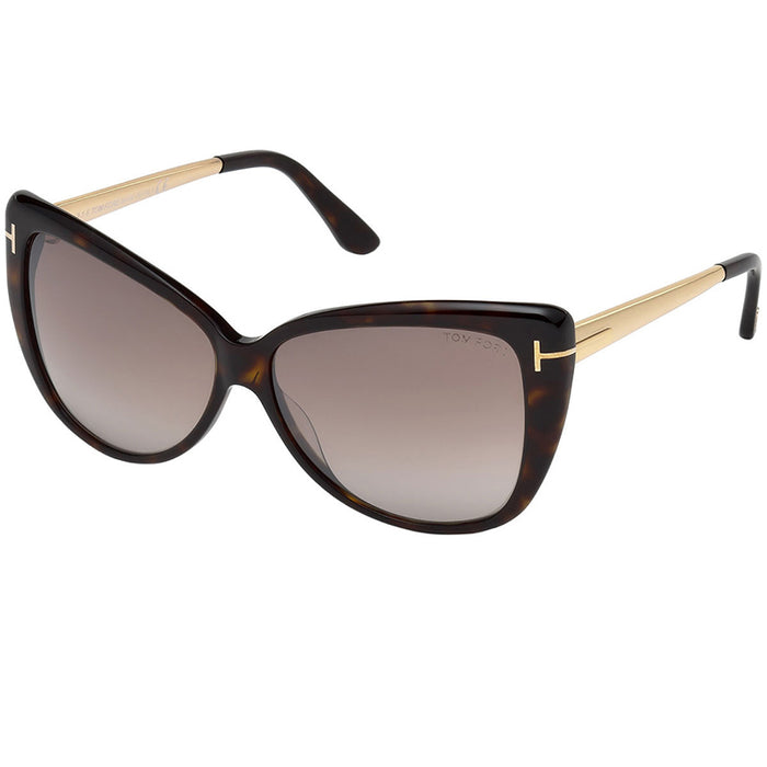Tom Ford Reveka Sunglasses Dark Havana w/Brown Mirrored Lens