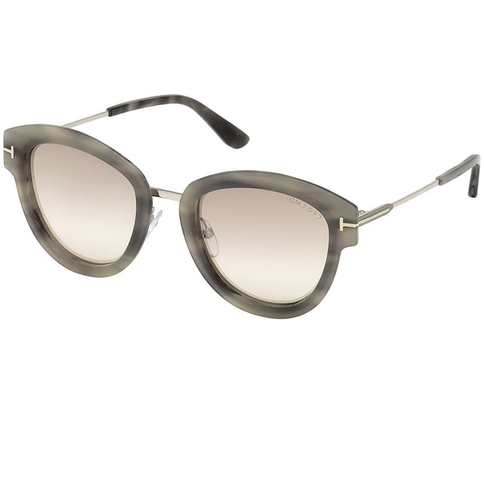 Tom Ford Mia Sunglasses Grey Havana w/Brown Mirrored Lens Women FT0574-55G