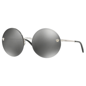 Versace Round Women's Sunglasses w/Grey Silver Mirrored Lens VE2176 10006G