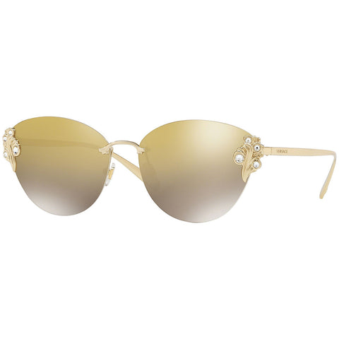 Versace Women's Sunglasses w/Light Brown Gold Gradient Mirrored Lens VE2196B 12527I