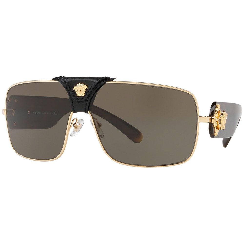Versace Squared Baroque Unisex Sunglasses Gold w/Brown Lens VE2207Q 1002/3