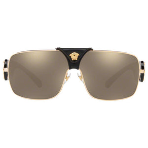 Versace Squared Baroque Unisex Sunglasses w/Light Gold Brown Mirrored Lens VE2207Q 1002/5