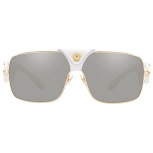 Versace Squared Baroque Unisex Sunglasses w/Light Grey Silver Mirrored Lens VE2207Q 10026G