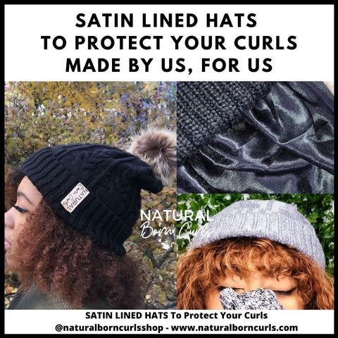 Satin Lined Beanie Hat  for Curly Hair | Natural Born Curls
