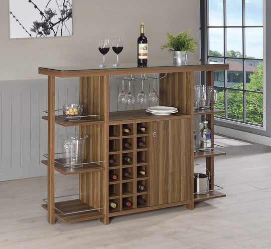 Modern Walnut Bar Unit With Wine Bottle Storage with decorations