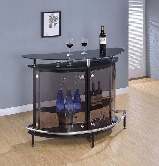 Loni Black Bar Table front view with decorations