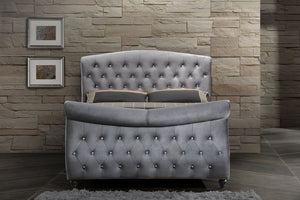 Renzo Grey Velvet Sleigh Bed