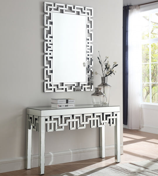 Irelyn Mirrored Console Table with mirror