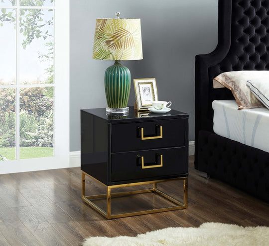 Celeste Nightstand black next to bed