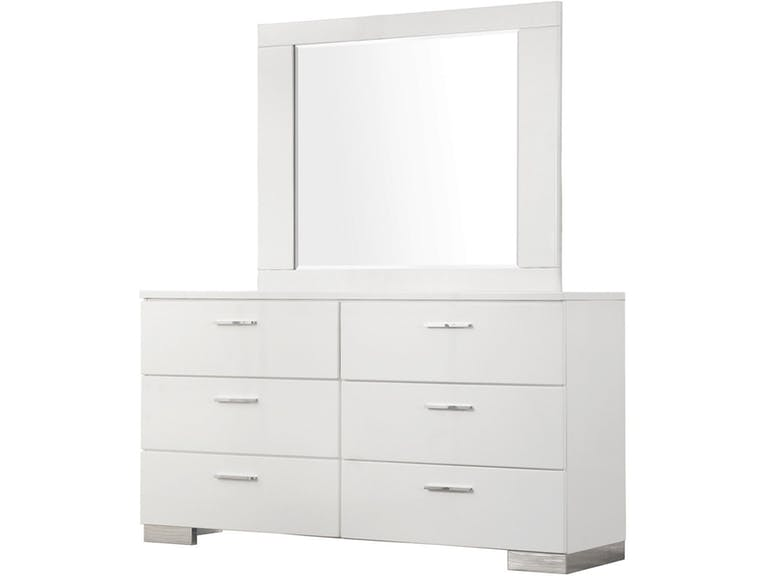 Jeslyn White Collection dresser with mirror