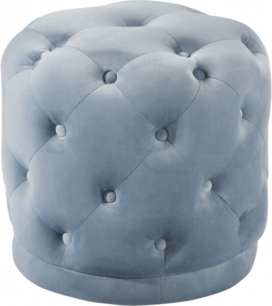 Peyton Velvet Ottoman | Stool light blue