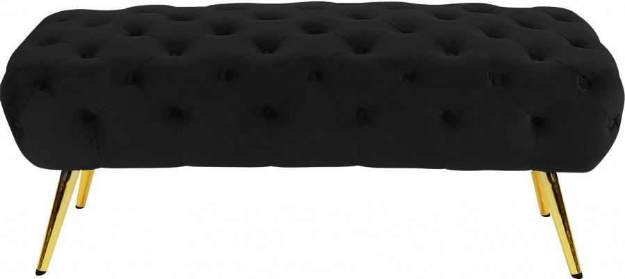 Alice Velvet Bench Black