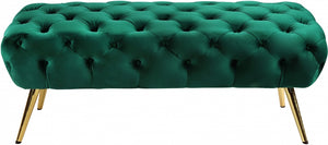Alice Velvet Bench Green