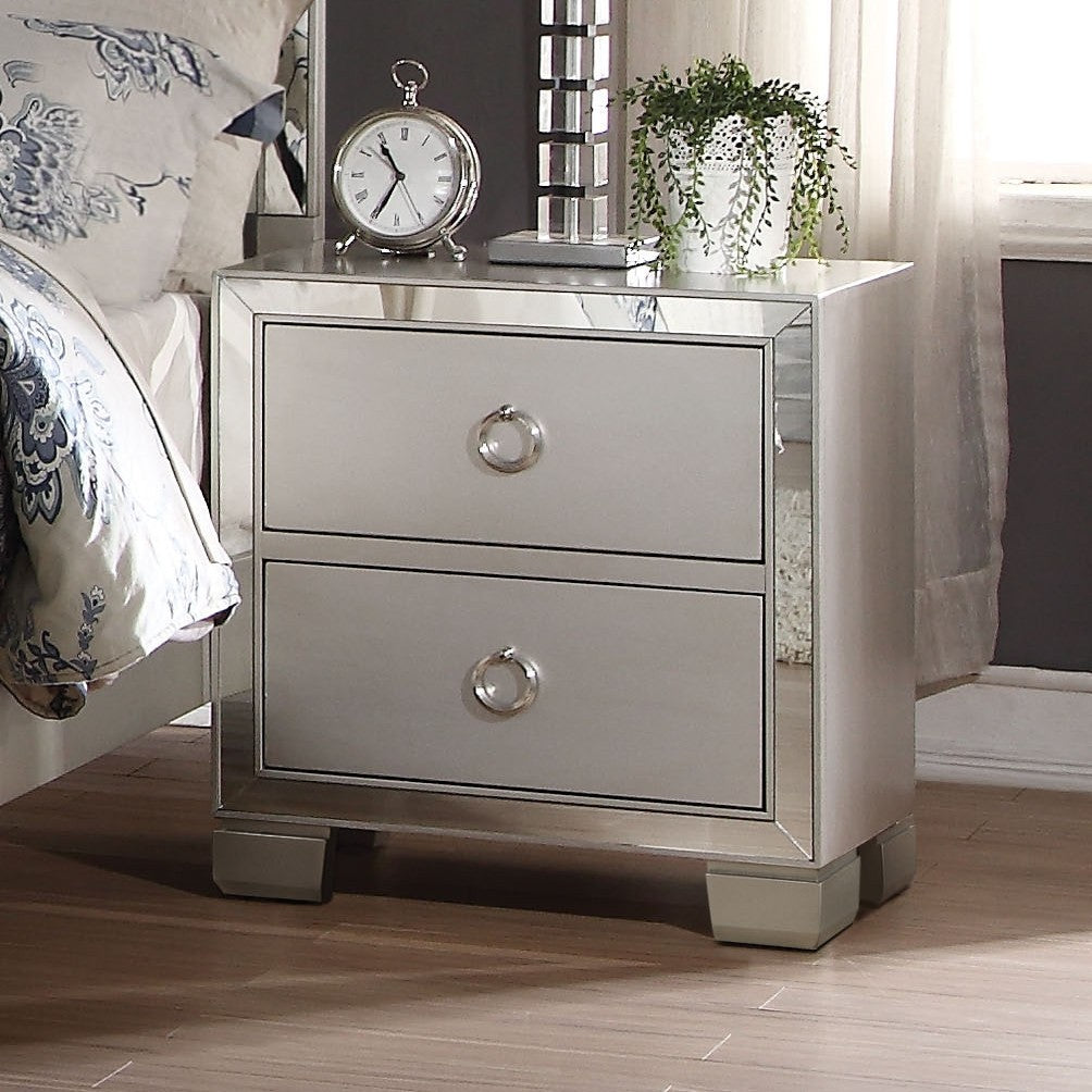 Carol Upholstered  Platinum nightstand