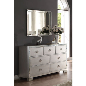 Carol Upholstered  Platinum dresser under mirror