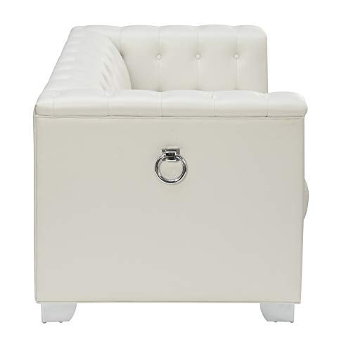 Prince Pearl White Collection loveseat side