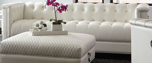 Prince Pearl White Collection ottoman