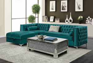 Giada Turquoise Sectional with decorations