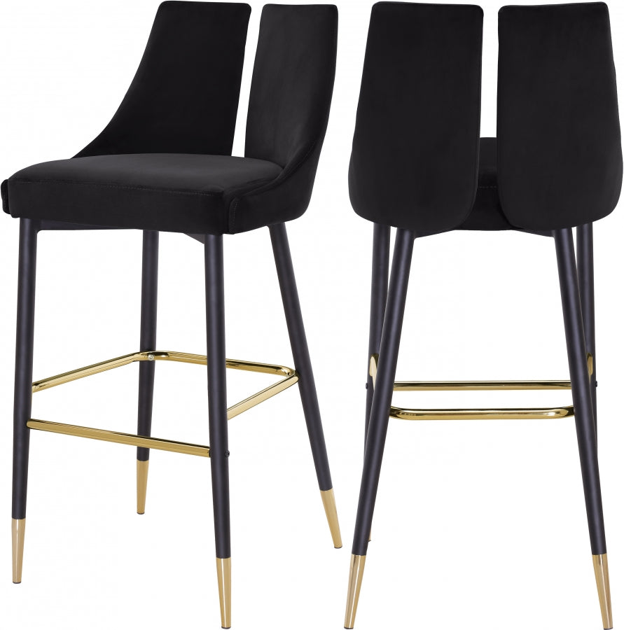 Annie Velvet Bar Stool (Set of 2) Black
