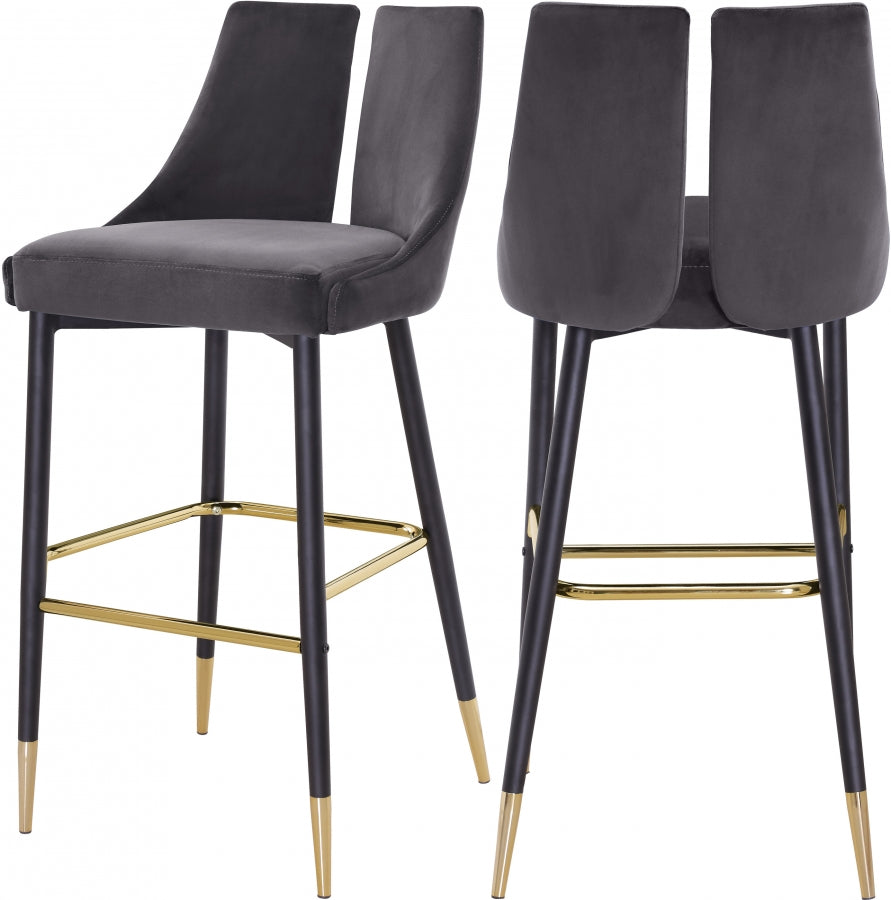 Annie Velvet Bar Stool (Set of 2) Grey