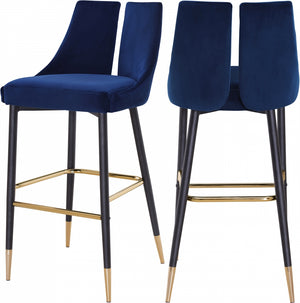 Annie Velvet Bar Stool (Set of 2) Blue