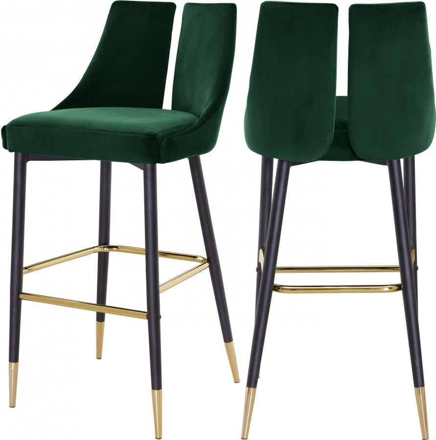 Annie Velvet Bar Stool (Set of 2) Green