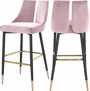 Annie Velvet Bar Stool (Set of 2) Pink