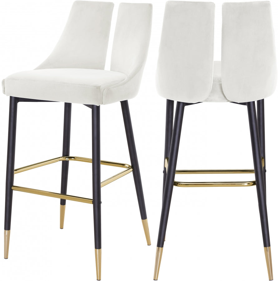 Annie Velvet Bar Stool (Set of 2) White