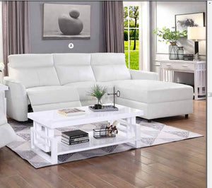 Heily White Power Recliner Sectional