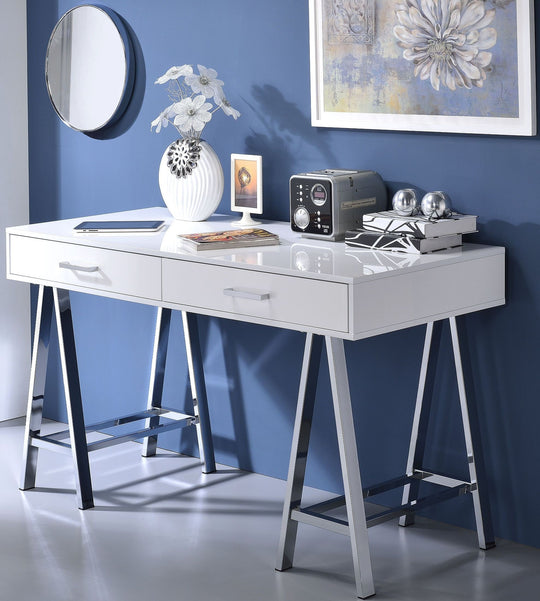 Drella White High Gloss Office Desk