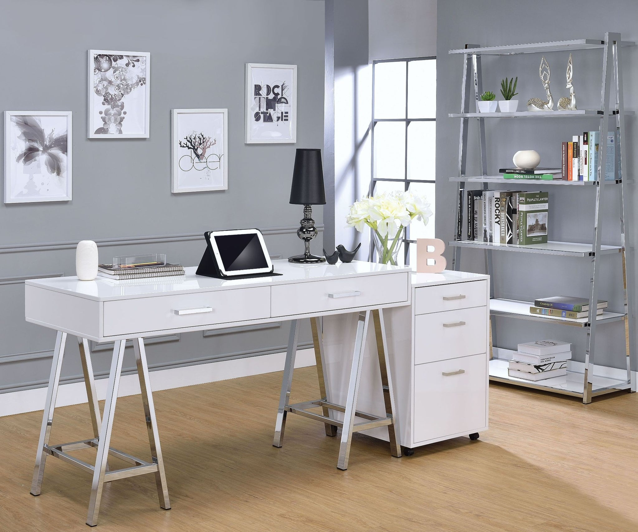Drella White High Gloss Office Desk ipad on table in office room
