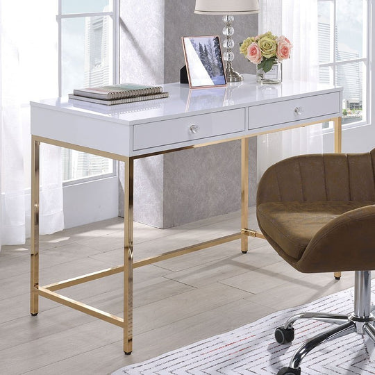 Carlyn White Gloss Office Desk
