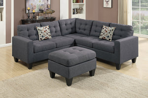 Alison Blue Grey Sectional & Ottoman