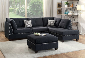 Amanda Black Sectional & Ottoman Free
