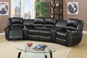 Angela Black Sectional Recliner