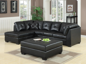Batman Black Bonded Leather Sectional